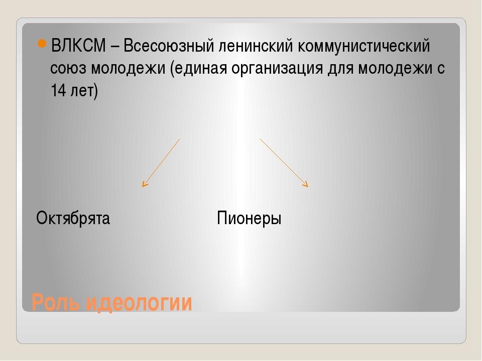 Роль идеологии ВЛКСМ – Всесоюзный ленинский коммунистический союз молодежи (е...