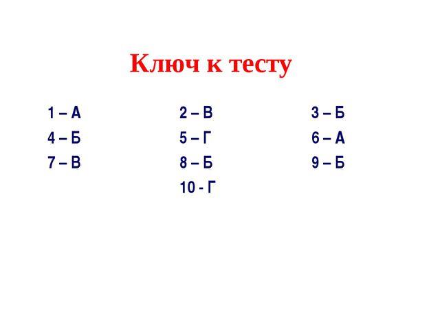 Ключ к тесту 1 – А2 – В3 – Б 4 – Б5 – Г6 – А 7 – В8 – Б9 –...
