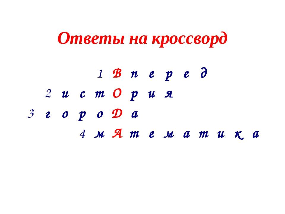 Ответы на кроссворд 1Вперед 2истОрия 3гороДа...
