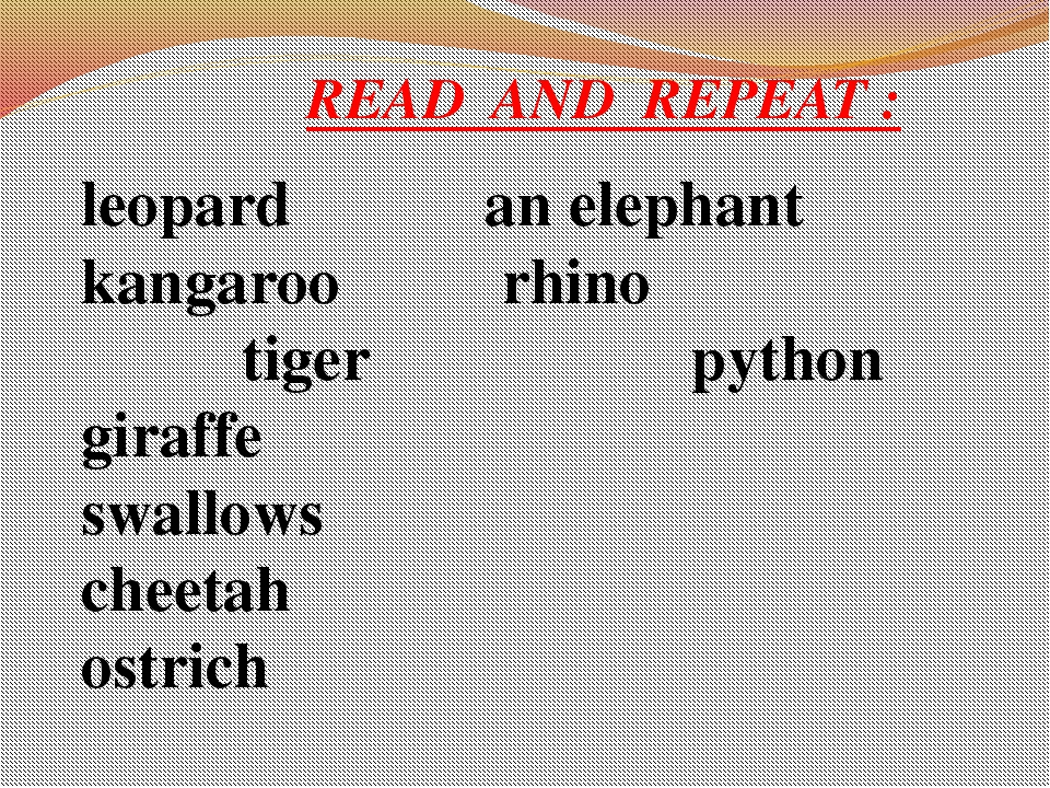 READ AND REPEAT : leopard an elephant kangaroo rhino tiger python giraffe sw...