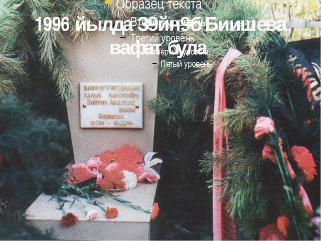 1996 йылда З9йн9б Биишева вафат була