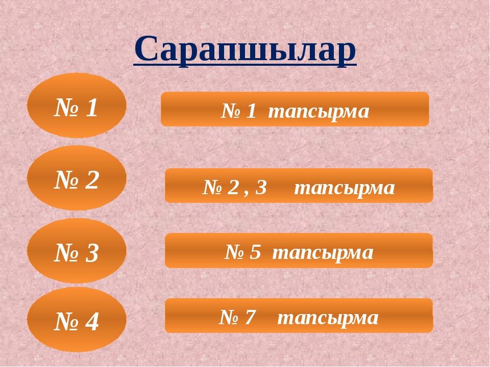 Сарапшылар № 3 № 1 тапсырма № 2 , 3 тапсырма № 5 тапсырма № 7 тапсырма № 1 №...