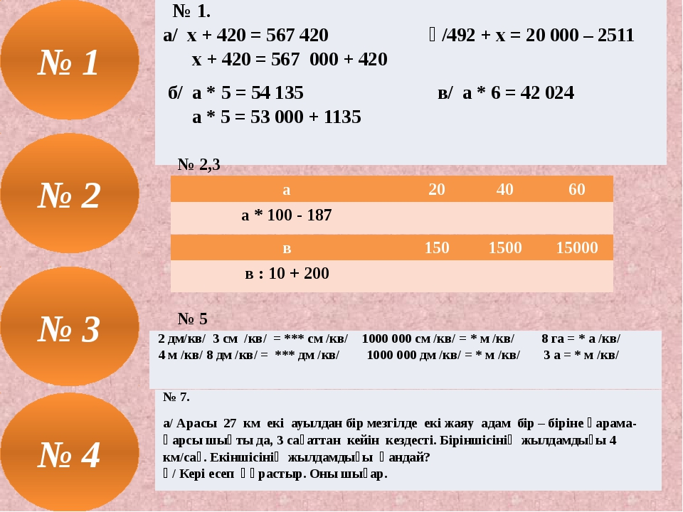 № 2,3 № 5 № 3 № 1. а/ х + 420 = 567 420ә/492 + х = 20 000 – 2511 х + 420 = 56...