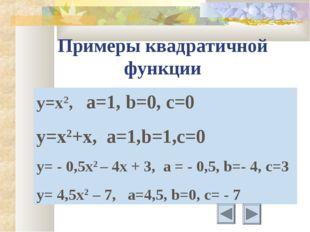 Примеры квадратичной функции y=x2, а=1, b=0, c=0 y=x2+x, a=1,b=1,c=0 y= - 0,5