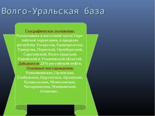 Волго-Уральская база Географическое положение: Расположена в восточной части