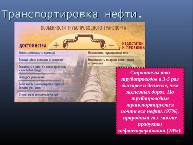 Транспортировка нефти. Строительство трубопроводов в 3-5 раз быстрее и дешевл...