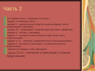 Часть 2 Все задания части 2 разделены на 9 групп: Задание 2-понимание текста