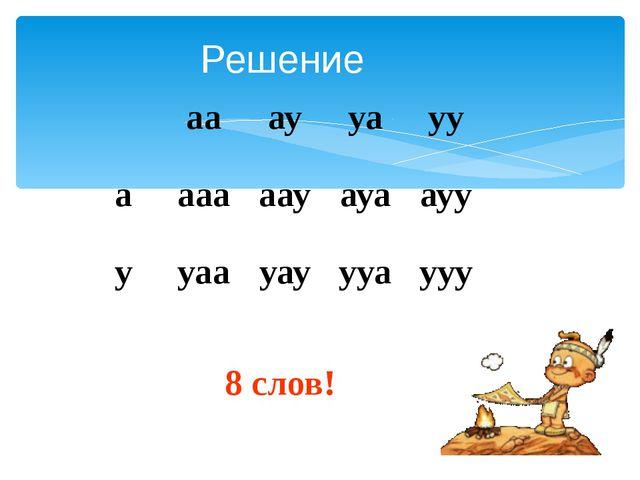 Решение 8 слов! аа ау уа уу а ааа аау ауа ауу у уаа уау ууа ууу