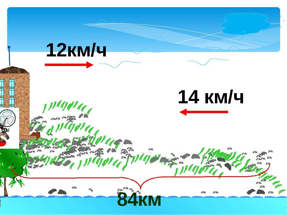 14 км/ч 84км 12км/ч