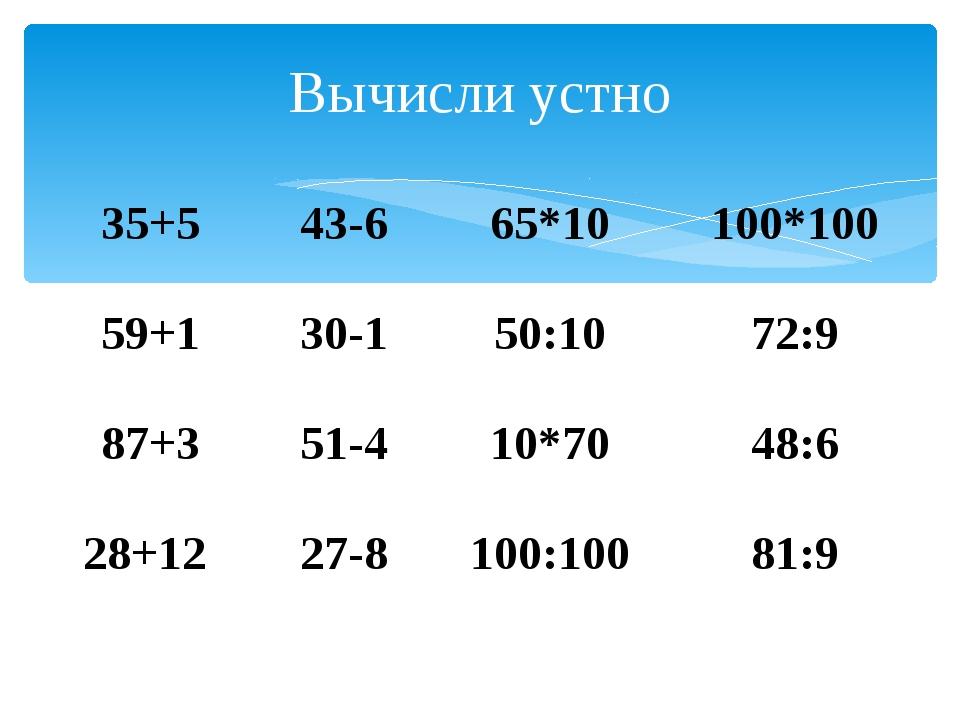 Вычисли устно 35+5 43-6 65*10 100*100 59+1 30-1 50:10 72:9 87+3 51-4 ...