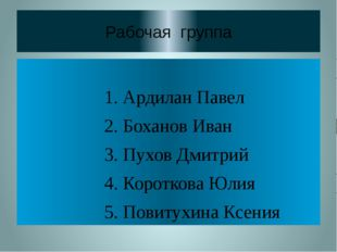 Рабочая группа 1. Ардилан Павел 2. Боханов Иван 3. Пухов Дмитрий 4. Короткова