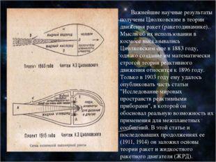 Важнейшие научные результаты получены Циолковским в теории движения ракет (р
