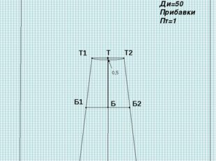 Чертеж клиньевой юбки «Шестиклинка» Мерки: Ст=33 Сб=43 Дтс=35 Ди=50 Прибавки