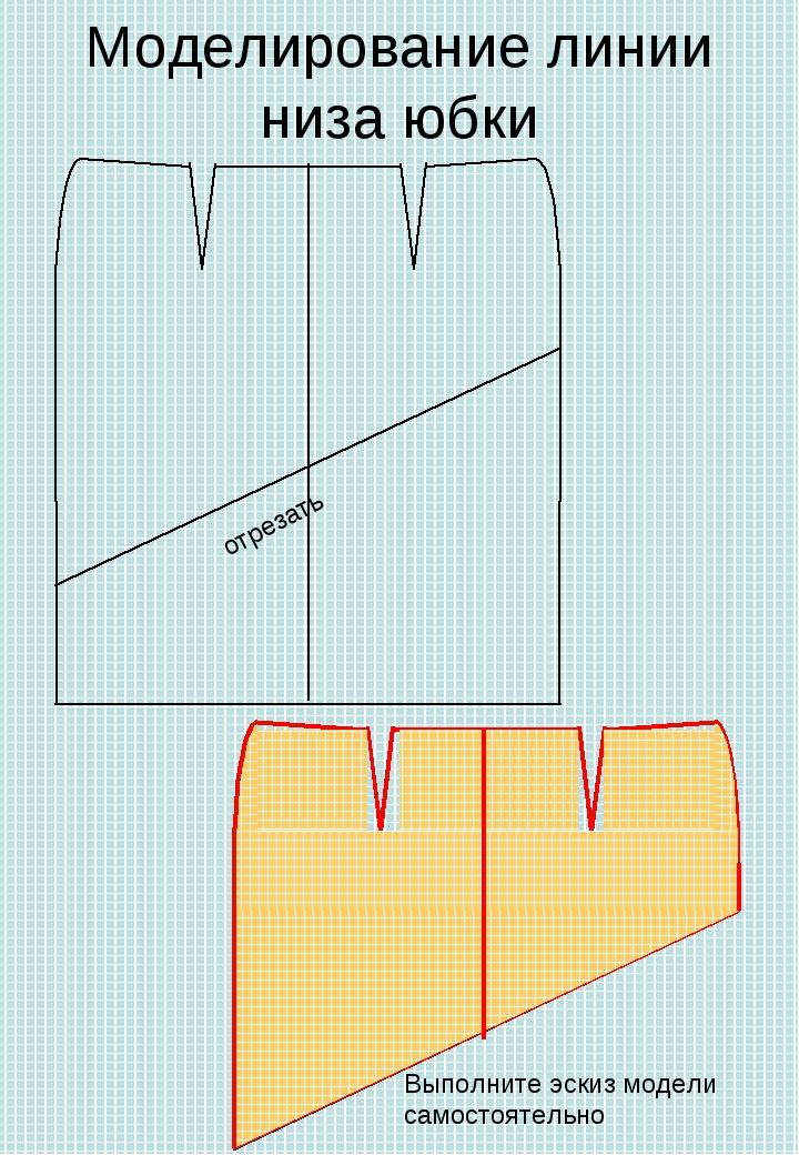 Моделирование линии низа юбки отрезать Выполните эскиз модели самостоятельно