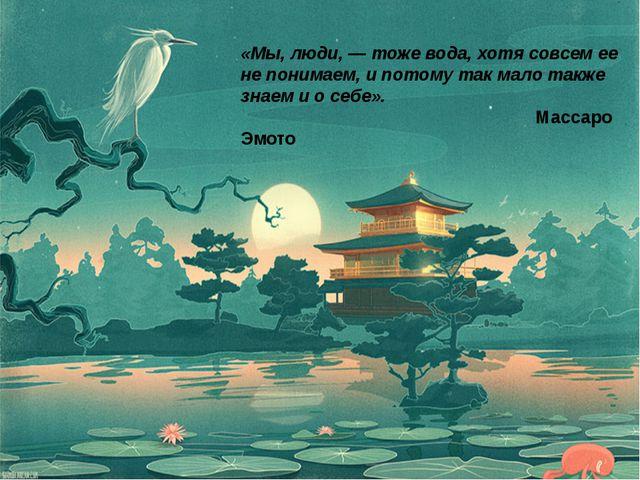 «Мы, люди, — тоже вода, хотя совсем ее не понимаем, и потому так мало также з...