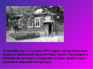 10 октября (по ст. стилю) 1870 года в городе Воронеже родился маленький мальч