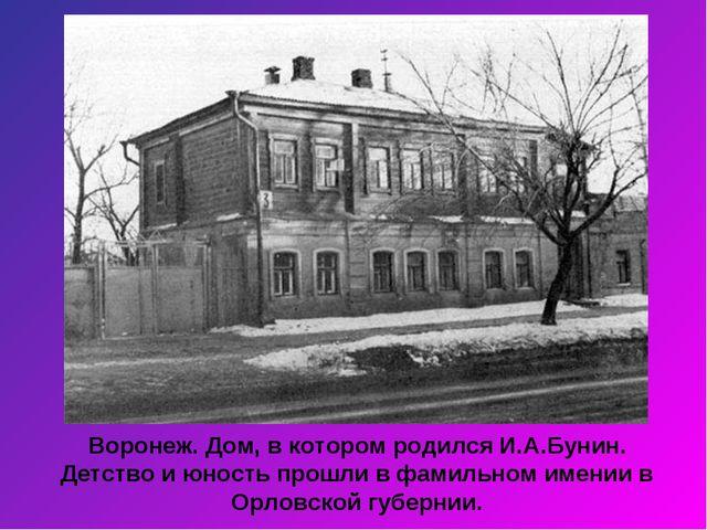 Воронеж. Дом, в котором родился И.А.Бунин. Детство и юность прошли в фамильно...