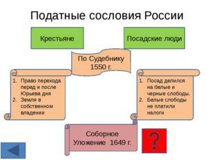 Податные сословия России Крестьяне Посадские люди По Судебнику 1550 г. Право