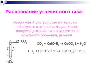 Распознание углекислого газа: Известковый раствор стал мутным, т.к. образуетс