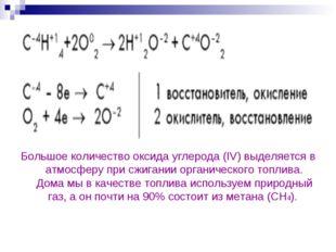 Большое количество оксида углерода(IV) выделяется в атмосферу при сжигании о