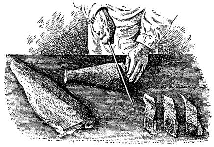 Нарезка рыбы на порционные куски (прямо)