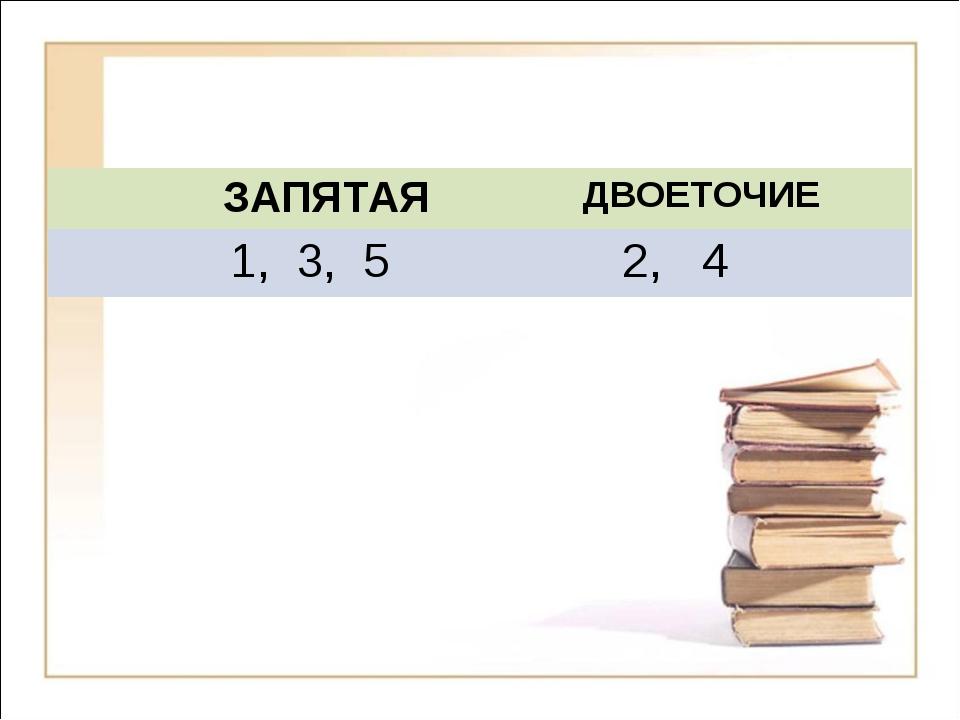 ЗАПЯТАЯ ДВОЕТОЧИЕ 1, 3, 5 2, 4