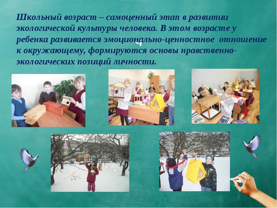 Ч Школьный возраст – самоценный этап в развитии экологической культуры челов...