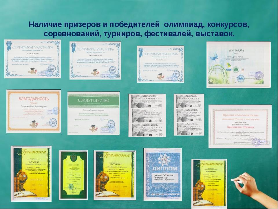 Наличие призеров и победителей олимпиад, конкурсов, соревнований, турниров,...