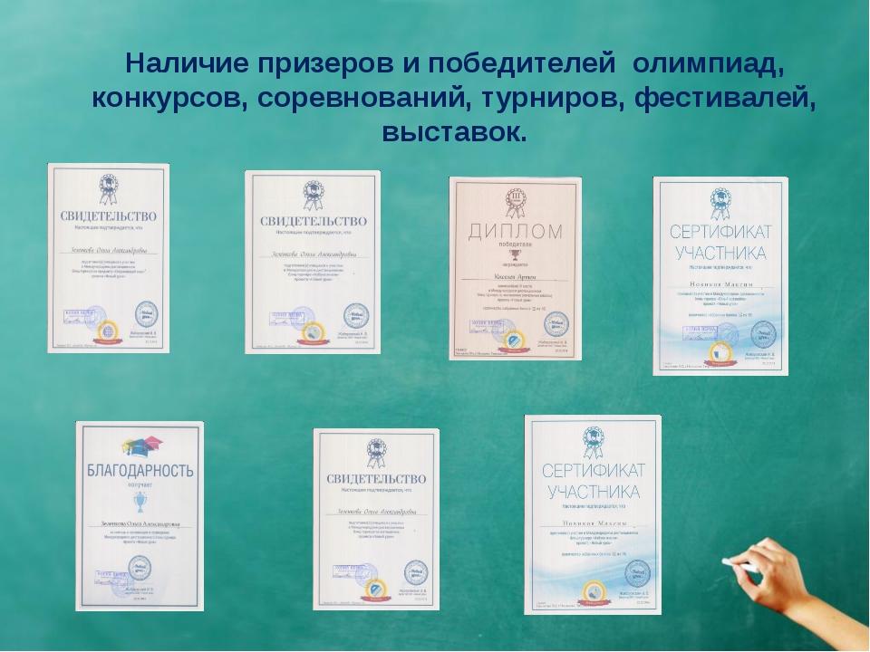 Наличие призеров и победителей олимпиад, конкурсов, соревнований, турниров, ф...