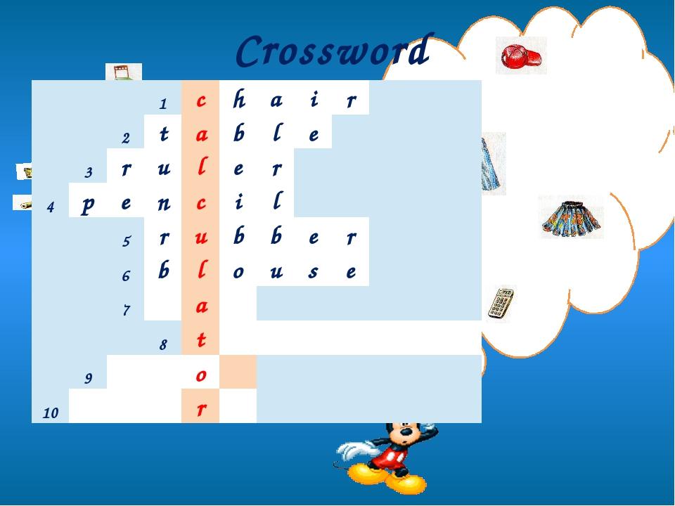 Crossword 1 c h a i r 2 t a b l e 3 r u l e r 4 p e n c i l 5 r u b b e r 6...