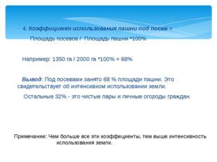 4. Коэффициент использования пашни под посев = Площадь посевов / Площадь пашн