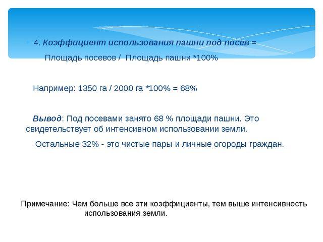 4. Коэффициент использования пашни под посев = Площадь посевов / Площадь пашн...