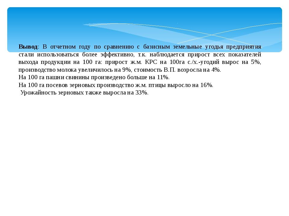 Вывод: В отчетном году по сравнению с базисным земельные угодья предприятия с...