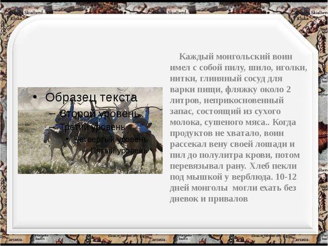 Каждый монгольский воин имел с собой пилу, шило, иголки, нитки, глиняный сос...