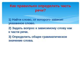 1) Найти слово, от которого зависит указанное слово. 2) Задать вопрос к завис