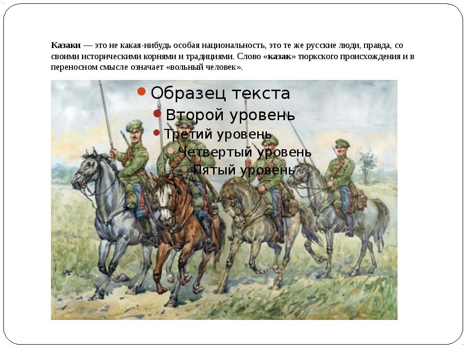 Казаки— это не какая-нибудь особая национальность, это те же русские люди, п...