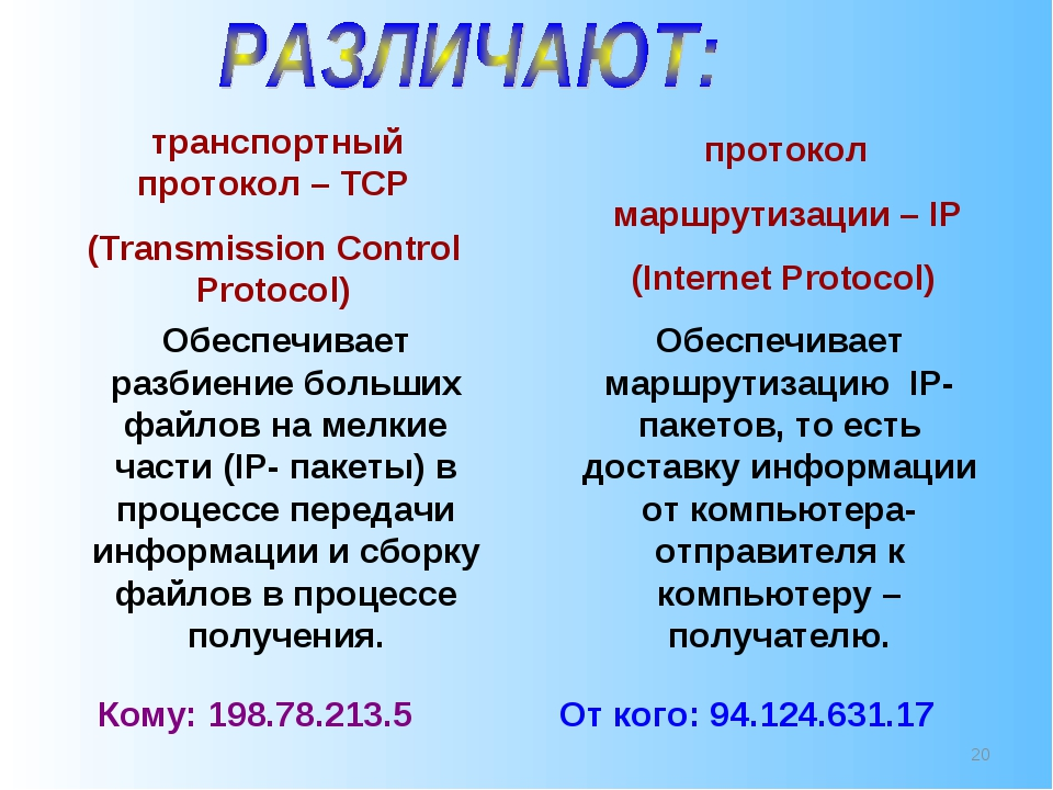 * транспортный протокол – TCP (Transmission Control Protocol) протокол маршру...