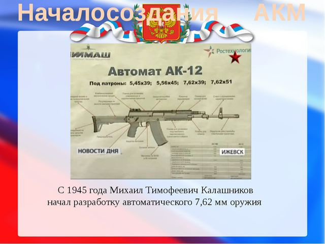Начало создания АКМ С1945 годаМихаил Тимофеевич Калашников начал разработк...