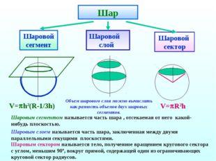Шар Шаровой сегмент Шаровой слой Шаровой сектор Шаровым сектором называется т
