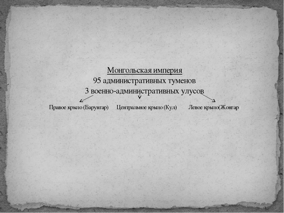 Монгольская империя 95 административных туменов 3 военно-административных улу...