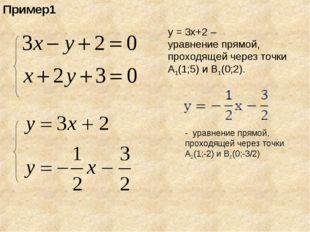 Пример1 у = 3х+2 – уравнение прямой, проходящей через точки А1(1;5) и В1(0;2)