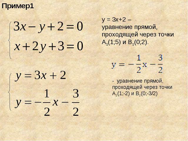 Пример1 у = 3х+2 – уравнение прямой, проходящей через точки А1(1;5) и В1(0;2)...