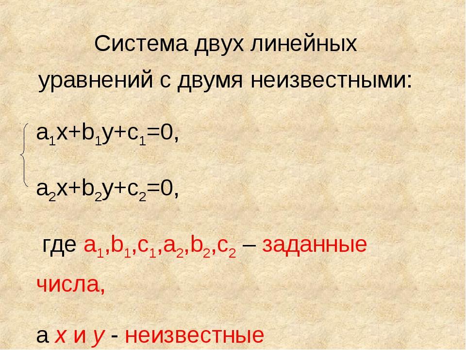 Система двух линейных уравнений с двумя неизвестными: а1х+b1у+с1=0, а2х+b2у+с...