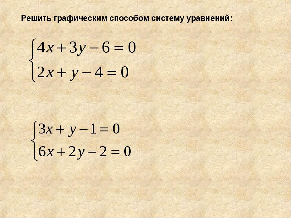 Решить графическим способом систему уравнений: