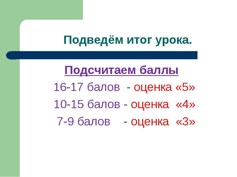 Подведём итог урока. Подсчитаем баллы 16-17 балов - оценка «5» 10-15 балов -...