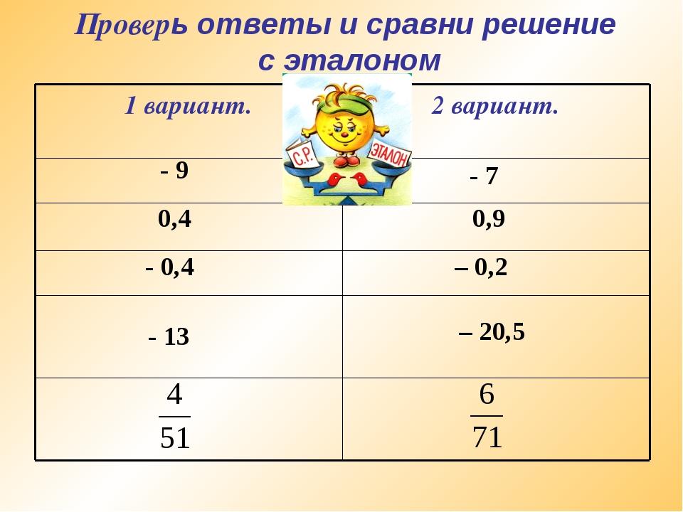 Проверь ответы и сравни решение с эталоном - 9 - 7 0,4 0,9 - 0,4 – 0,2 - 13 –...