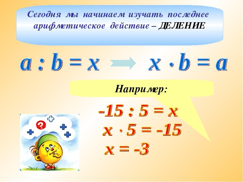 Сегодня мы начинаем изучать последнее арифметическое действие – ДЕЛЕНИЕ Напри...