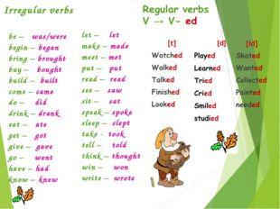 Irregular verbs be – was/were begin – began bring – brought buy – bought buil