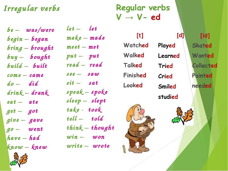 Irregular verbs be – was/were begin – began bring – brought buy – bought buil...