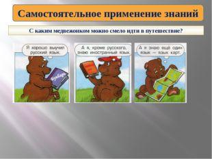 Самостоятельное применение знаний С каким медвежонком можно смело идти в путе